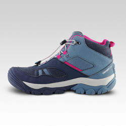 Kids Waterproof Lace-up Hiking Shoes CROSSROCK MID - Blue