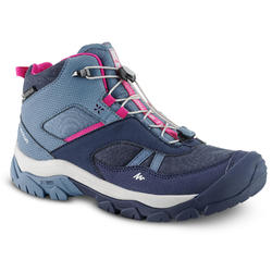 WATERPROOF LACE-UP MOUNTAIN HIKING SHOES - CROSSROCK MID - BLUE - KIDS - SIZE 35