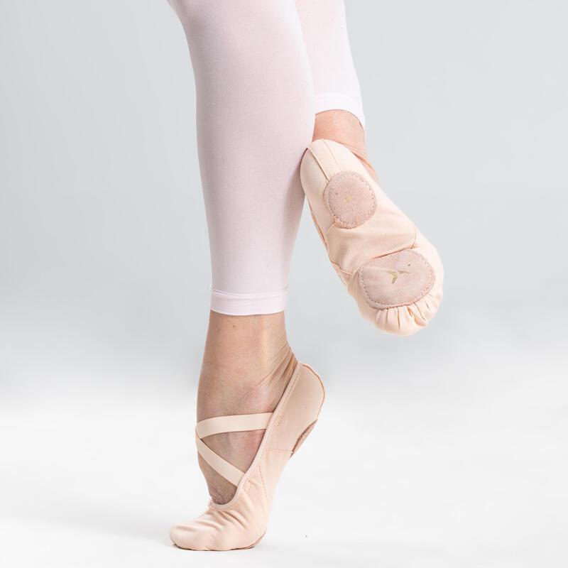 Balletschoenen stretch canvas demi-pointes met splitzool zalmroze maat 28-40