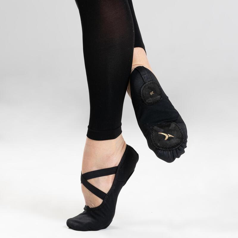 Balletschoenen stretch canvas demi-pointes met splitzool zwart maat 28-40