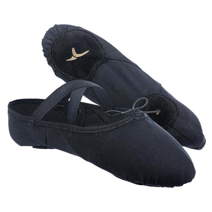 Balletschoenen stretch canvas demi-pointes met splitzool zwart maat 41-42