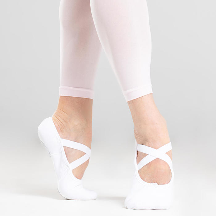 Balletschoenen stretch canvas demi-pointes met splitzool wit maat 41-42