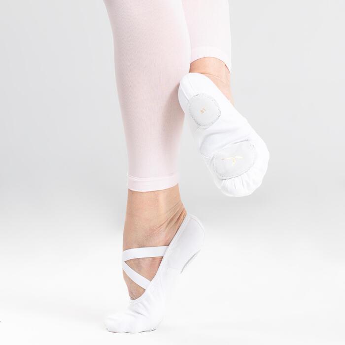 Demi-pointes danse classique bi-semelles en toile stretch blanches tailles 28-40