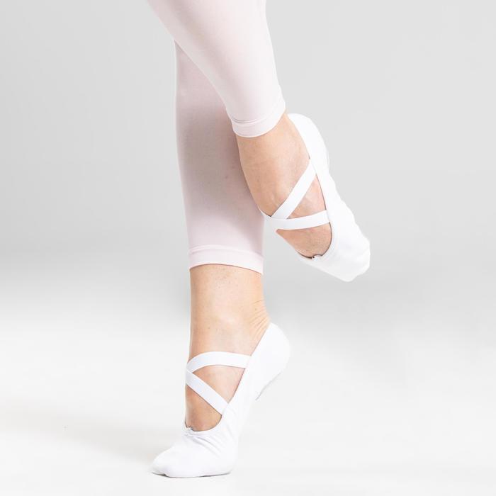 Demi-pointes danse classique bi-semelles en toile stretch blanches tailles 41-42