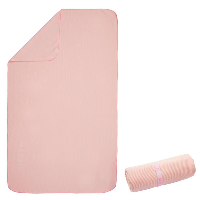 Toalha de natação microfibra às riscas rosa claro/escuro tamanho XL 110 x 175 cm