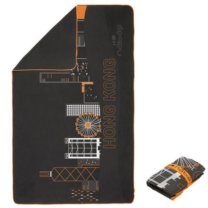 L號80 x 130 cm可收納微纖維毛巾-香港圖案
