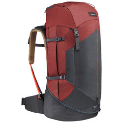Men's Mountain Trekking Backpack Trek 100 Easyfit 70L - ochre
