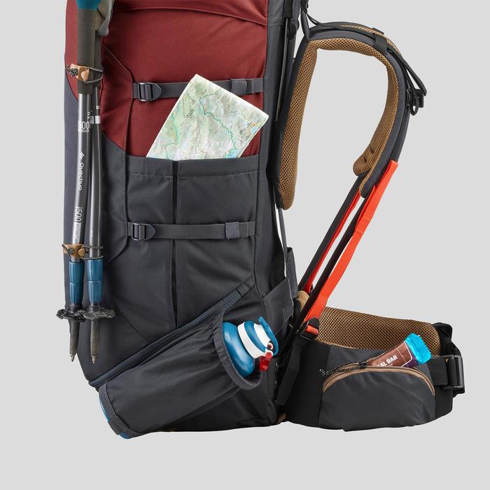 Mochila trekking montaña hombre - TREK 100 Easyfit - 70L ocre