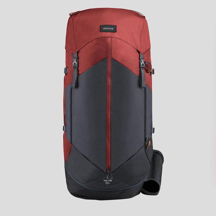 Sac à dos de trekking en montagne homme - TREK 100 Easyfit - 70L ocre