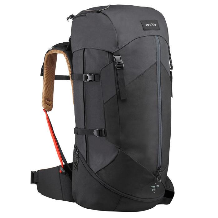 Men's Mountain Trekking Rucksack TREK 100 EASYFIT 50L - Black FORCLAZ -  Decathlon