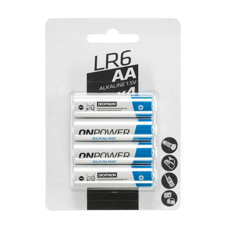 ÎNCĂRCĂTOARE, BATERII ȘI PANOURI SOLARE TREKKING Drumetie, Trekking - Set 4 baterii alcaline AA LR06 FORCLAZ - Lanterne, Dusuri, Prim-Ajutor