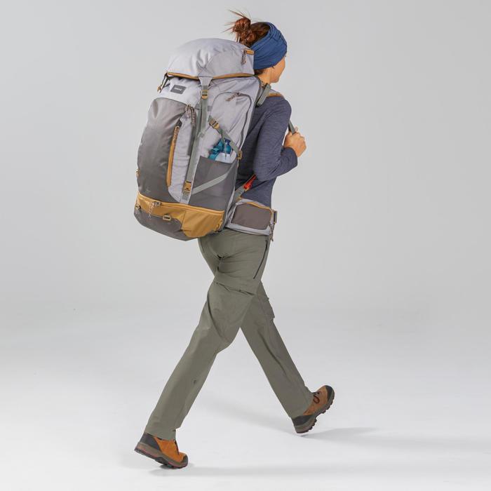 Afritsbroek voor backpacken dames Travel 500 kaki