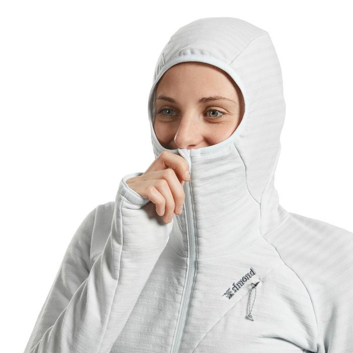 Pull technique à capuche en laine mérinos femme - ALPINISM Gris
