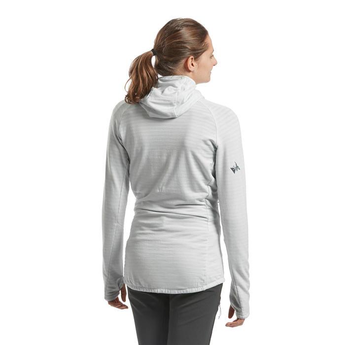 Technische merino trui met capuchon voor dames ALPINISM grijs