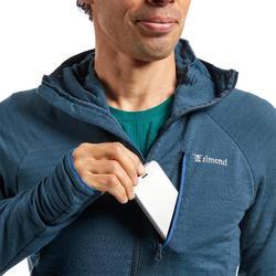 Pull technique à capuche en laine mérinos homme - ALPINISM Bleu