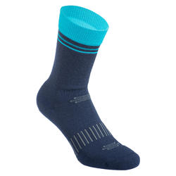 CHAUSSETTES VELO ROUTE HIVER 900 BLEU MARINE / TURQUOISE