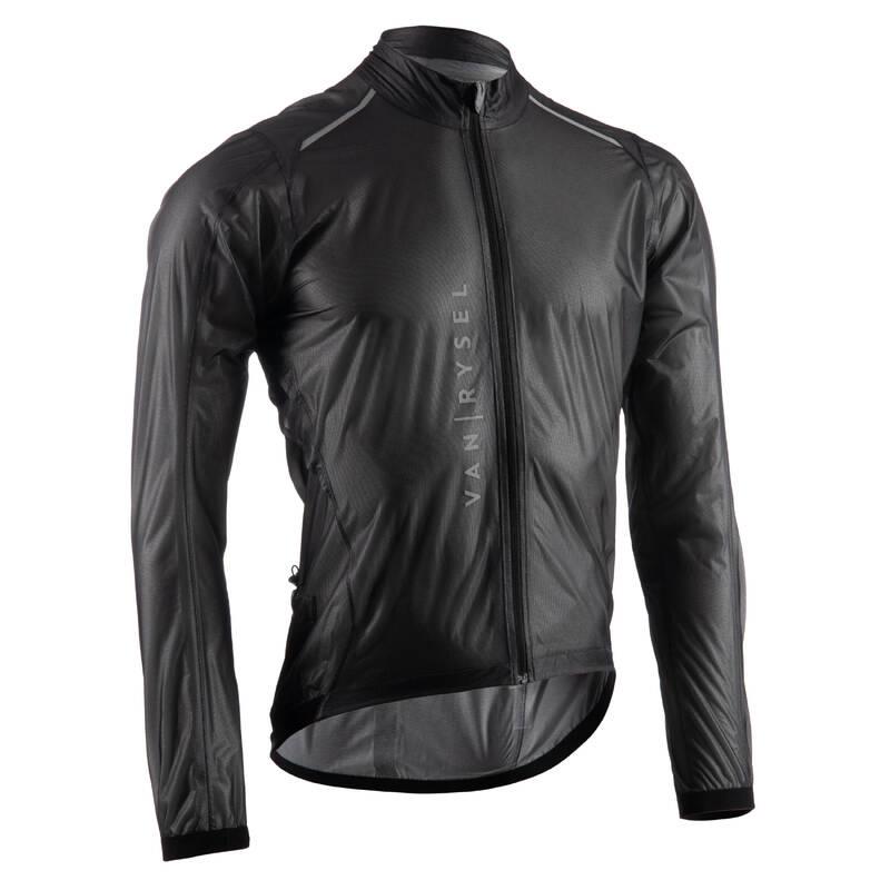 PÁNSKÉ VĚTRUODOLNÉ OBLEČENÍ NA SILNIČNÍ CYKLISTIKU Cyklistika - PLÁŠTĚNKA ULTRALIGHT ČERNÁ VAN RYSEL - Cyklistické oblečení