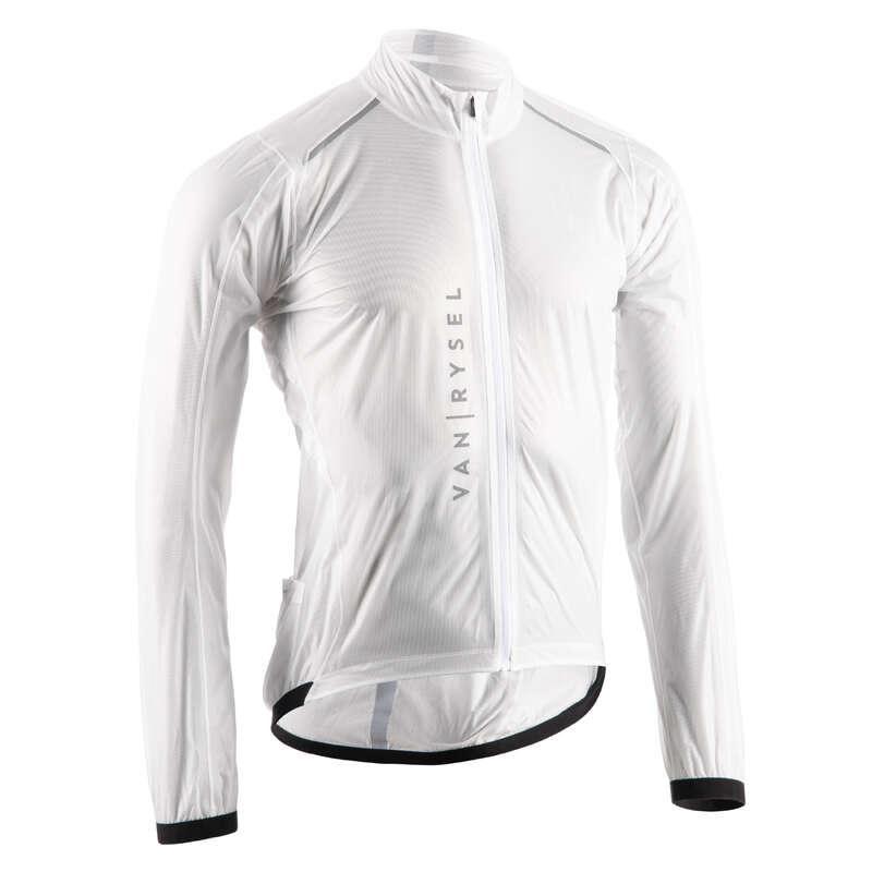 PÁNSKÉ VĚTRUODOLNÉ OBLEČENÍ NA SILNIČNÍ CYKLISTIKU Cyklistika - PLÁŠTĚNKA ULTRALIGHT BÍLÁ VAN RYSEL - Helmy, oblečení, obuv