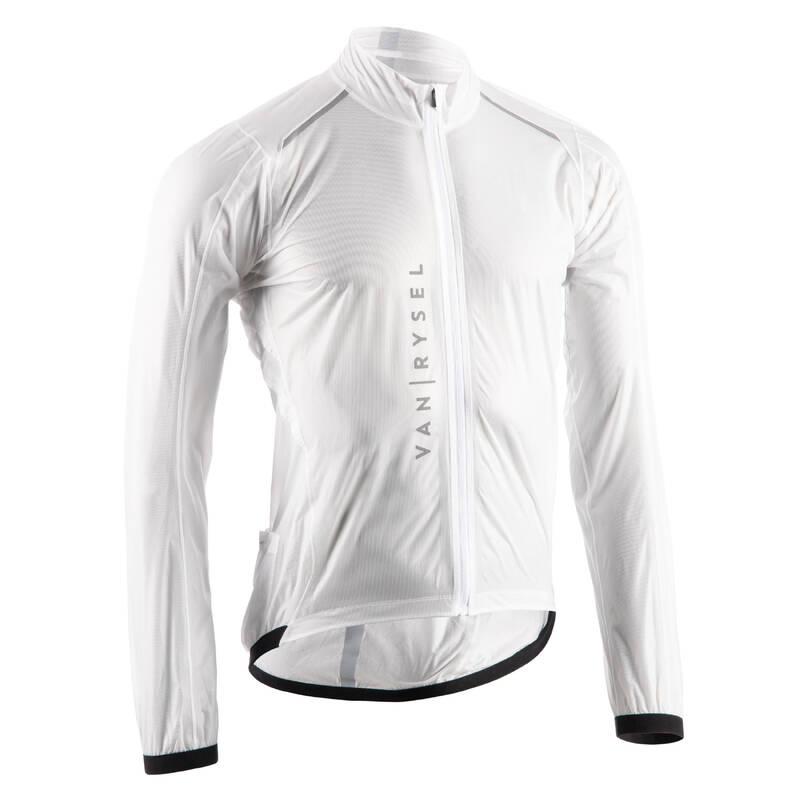 PÁNSKÉ VĚTRUODOLNÉ OBLEČENÍ NA SILNIČNÍ CYKLISTIKU Cyklistika - PLÁŠTĚNKA ULTRALIGHT BÍLÁ VAN RYSEL - Cyklistické oblečení