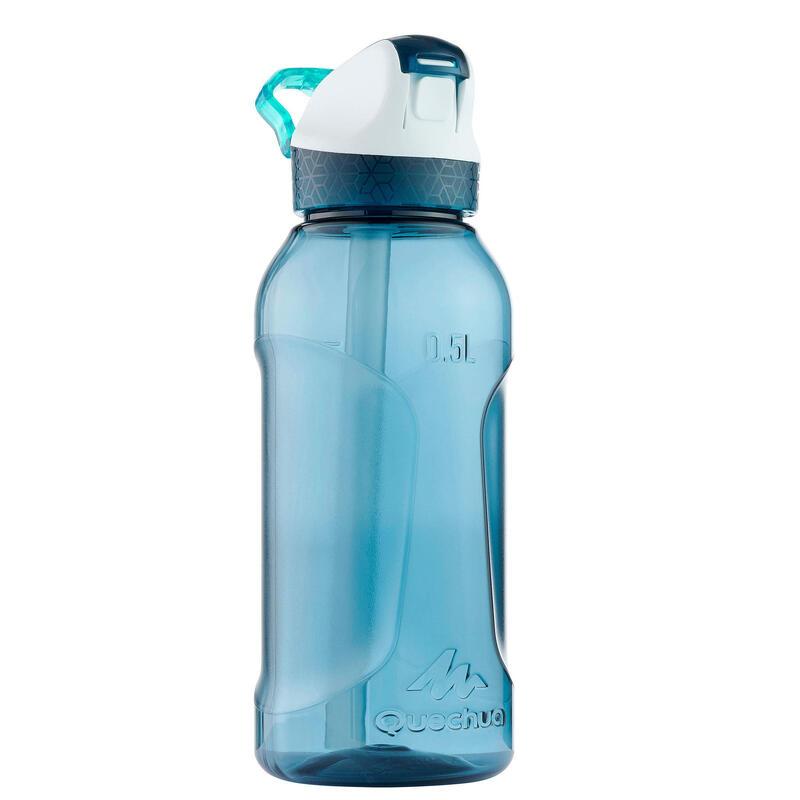 Cantimplora Botella Plástico 0,5 L Camping Quechua 900 Apertura Fácil Azul