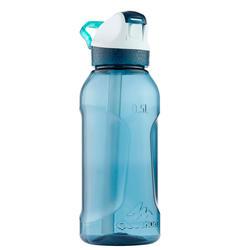 Drinkfles voor wandelen. Drinkfles 900 sneldop met rietje 0,5 liter Tritan blauw