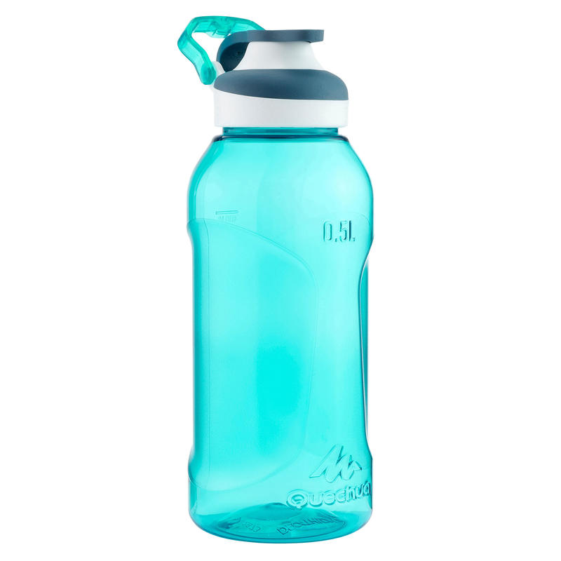 """Plastmasa (tritāna) pārgājienu pudele, ātri atverams vāks """"500"""", 0,5 l, tirkīza"""