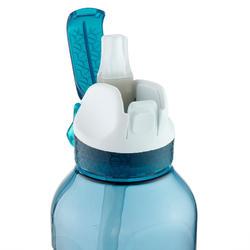Drinkfles voor wandelen 900 sportdop en rietje Tritan 0,8 l petrolblauw