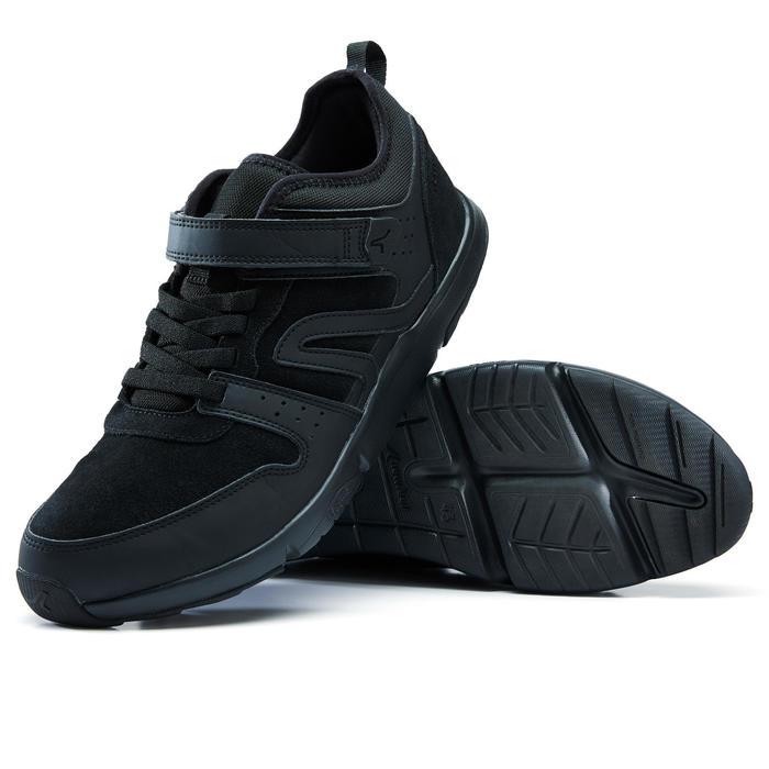 Herensneakers voor sportief wandelen Actiwalk Easy Leather zwart