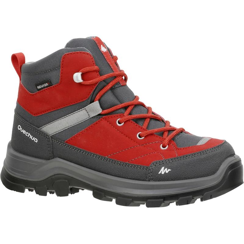 Children's waterproof mountain walking shoes MH 500 high - red