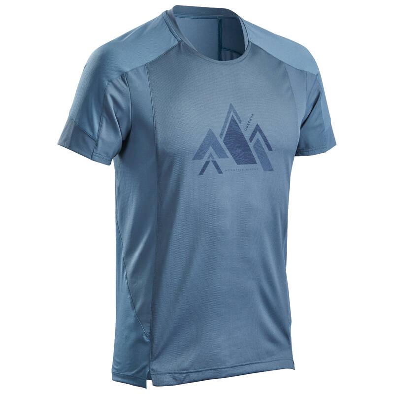 PÁNSKÁ TURISTICKÁ TRIČKA A KALHOTY Turistika - Tričko MH 500 modro-šedé QUECHUA - Turistické oblečení