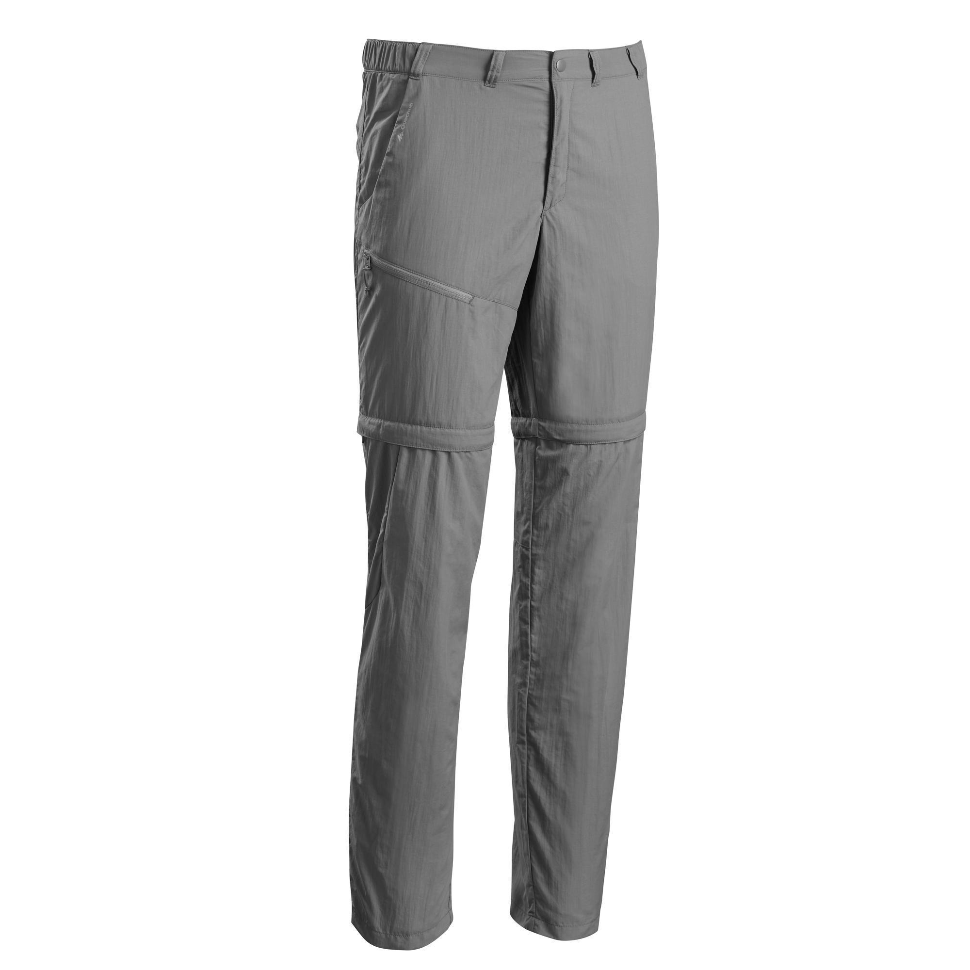 Pantalon de randonnée montagne mh150 modulable homme gris quechua
