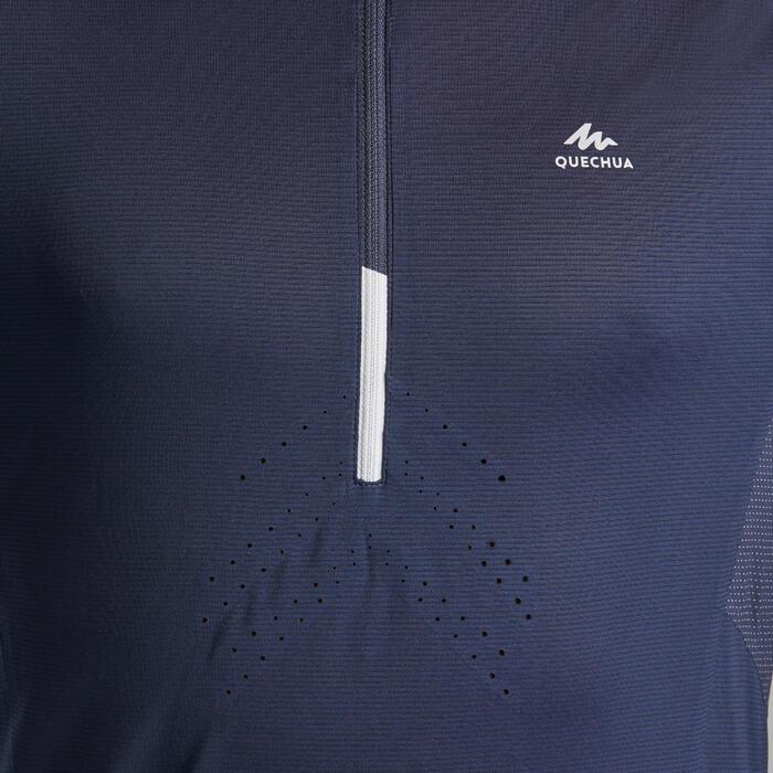 Wandershirt Kurzarm Speed Hiking FH500 Herren blau/schwarz
