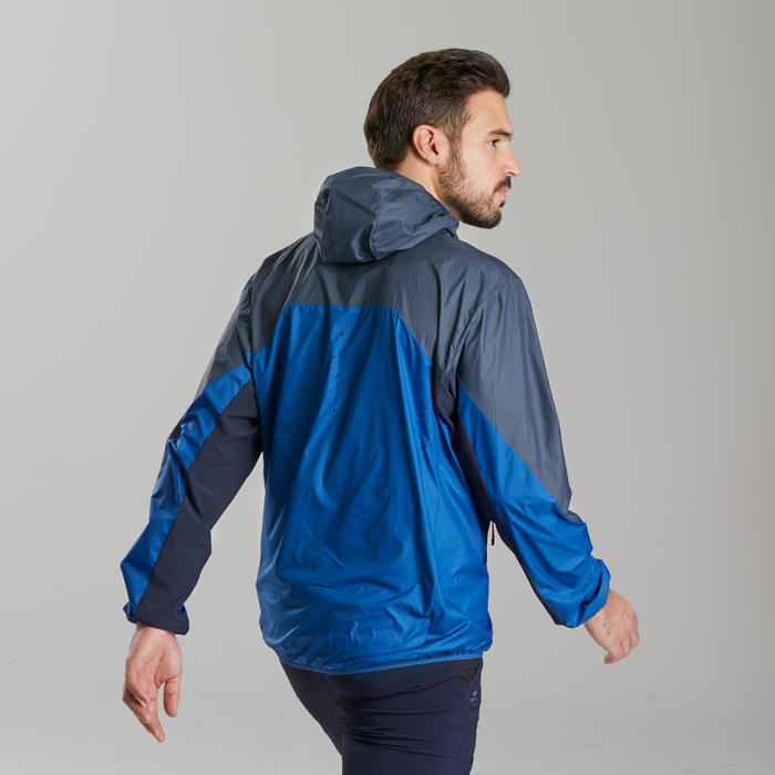 Men's fast hiking windproof jacket FH500 Helium Wind - Blue
