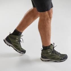 Men's waterproof mountain hiking shoes - MH100 Mid - Khaki