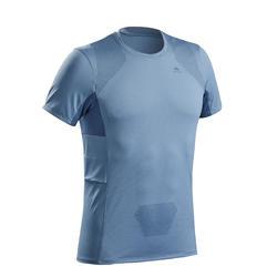 男款登山健行短袖T恤TREK 100-藍色