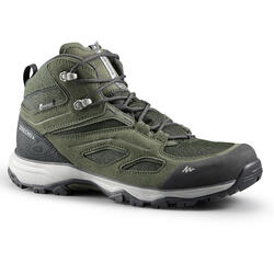 Men's waterproof mountain hiking shoes - MH100 Mid - Khaki