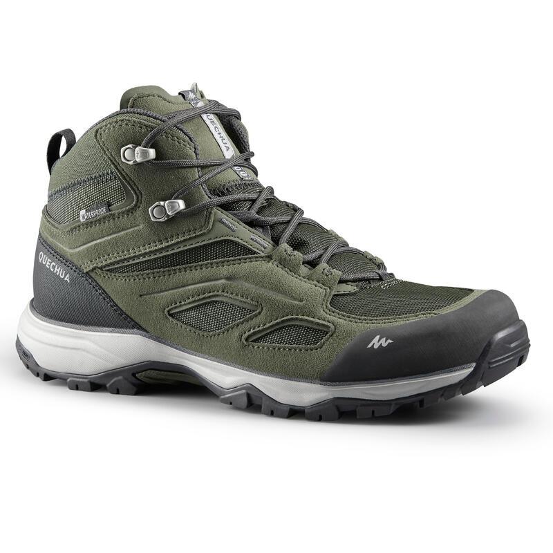Waterdichte schoenen voor bergwandelen heren MH100 mid kaki
