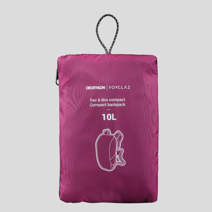Compacte rugzak voor backpacken 10 liter Travel 100 paars