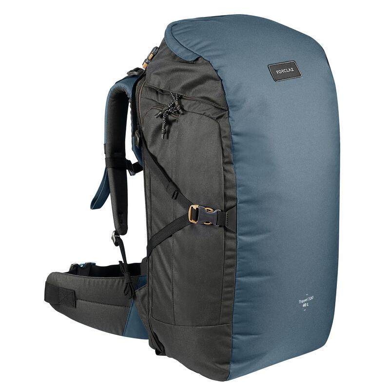 Rugzak voor backpacken Travel 100 40 liter blauw