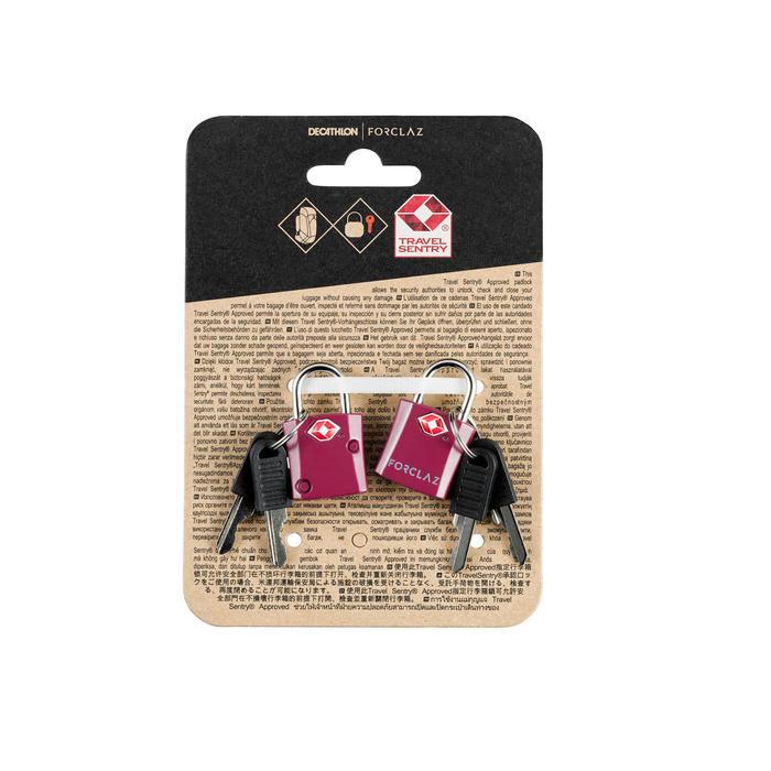 Cadenas à clés de trekking voyage TRAVEL TSA violet x2