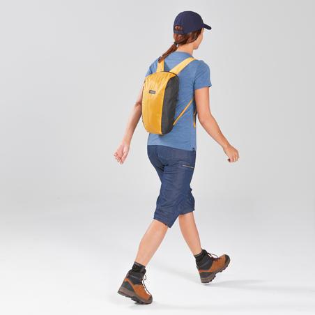 Mochila compacta 10 litros trekking viaje - TRAVEL 100 amarillo