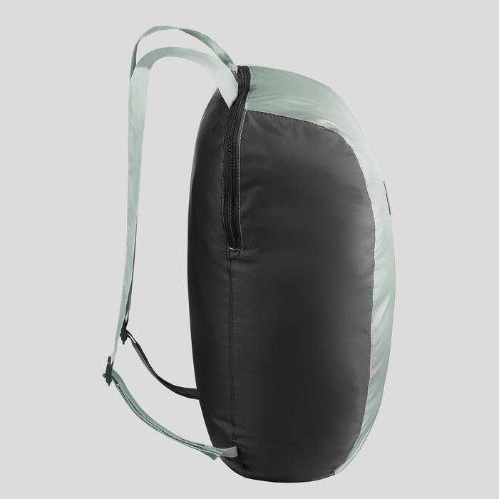 Compacte rugzak voor backpacken 10 liter Travel 100 kaki