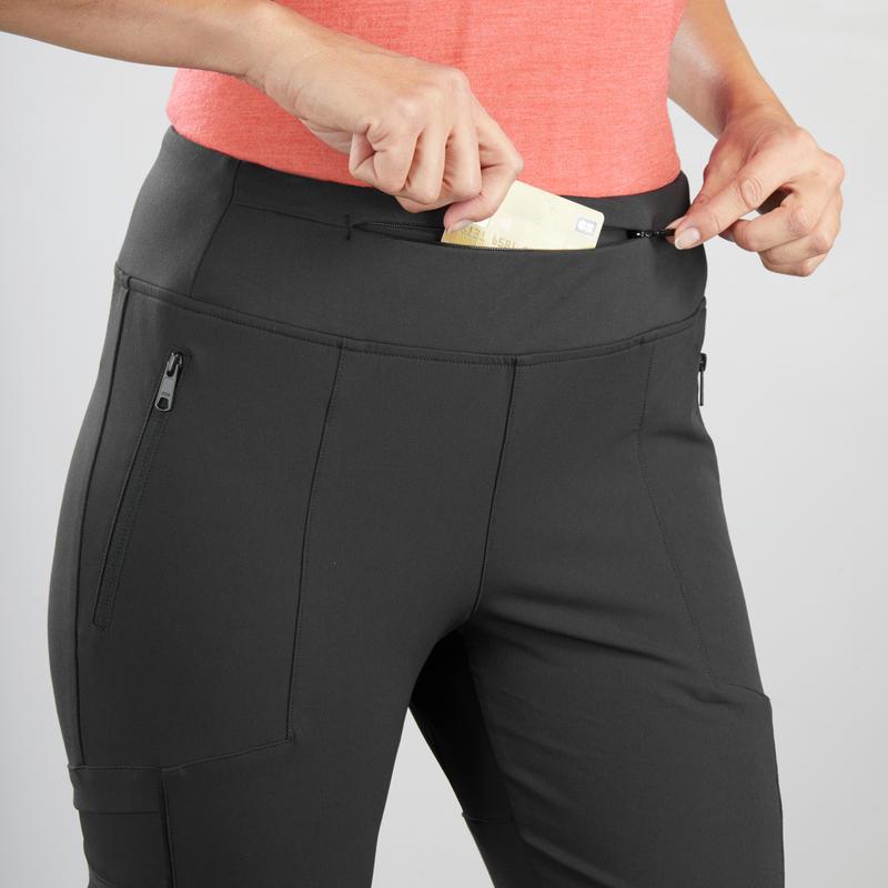 Women's Trek Reinforced & Multipocket Leggings Travel 500 - Black