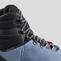Chaussures en cuir larges de trekking - TREK100 CUIR WIDE bleu femme