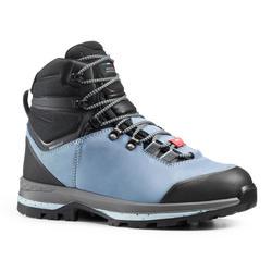Chaussures imperméables de trek en cuir - TREKKING 100 cuir bleu - femme - large