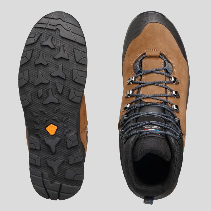 Men's Waterproof Leather Trekking Boots TREKKING 100 - Brown