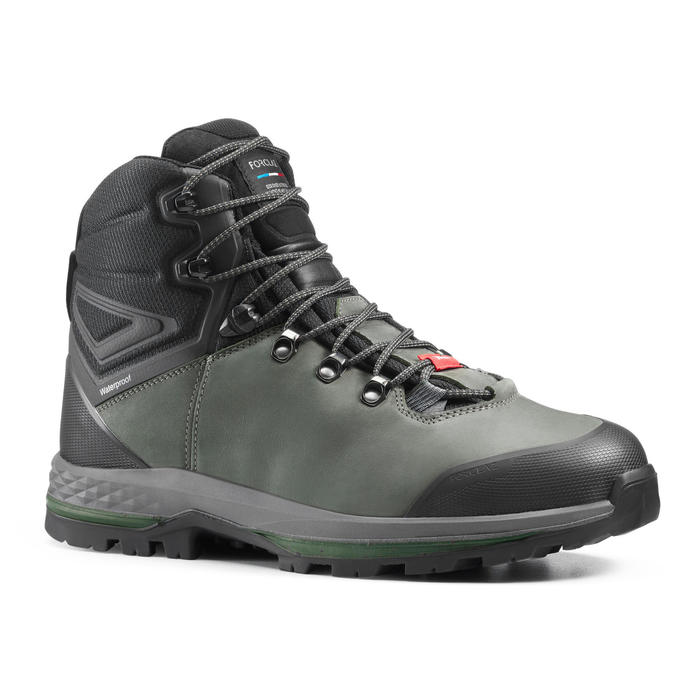 Chaussures en cuir larges de trekking - TREK100 CUIR WIDE kaki homme