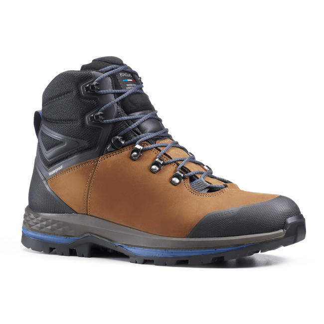 Men's Leather Mountain Trekking Boots with Flexible Soles - TREK100 LEATHER