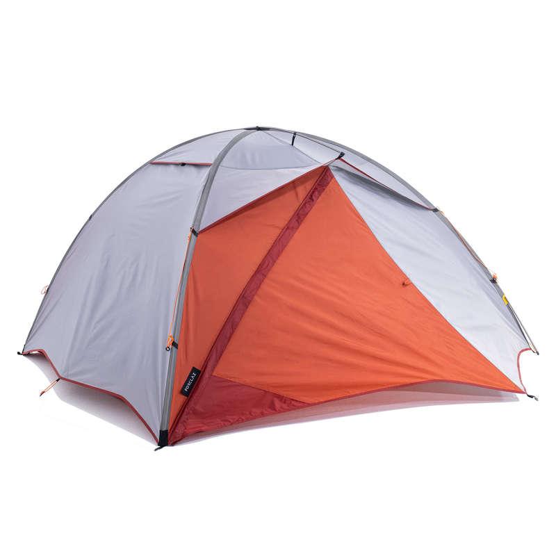 TENTS, TENTS ACCESSORIES TREK Trekking - 3P Tent Trek 500 - Grey orange FORCLAZ - Trekking