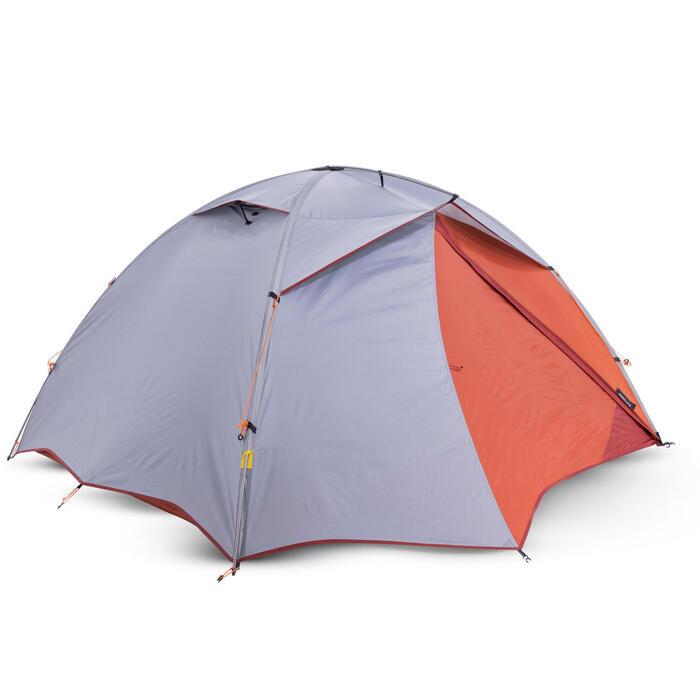 2人獨立式圓頂三季帳篷TREK 500-灰色/橘色
